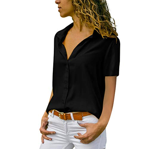 NCCIYAZ Womens T-Shirt Tops Plus Size Solid Short Sleeve Office Daily Casual Ladies Plain Blouse(4,Black)]()