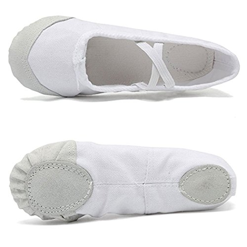 DoGeek Ballet Shoes Ballet Flats Women Ballet Pumps Slippers Pilates Shoes Yoga Shoes Dance Shoe Gymnastics Split Soft Canvas Flat for Children,Adults, Girls and Ladies Sizes White