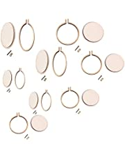 SUPVOX Mini Wood Hoop Small Ring Embroidery Hoops Cross Stitch Hoop Round Oval Wood Hoops for DIY Crafting Supplies 8 Pcs
