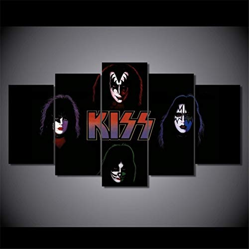 Kiss Wall - artwu Kiss Band Wall Art Home Wall Decorations for Bedroom Living Room Oil Paintings Canvas Prints #501