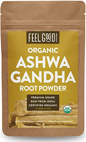 (Organic Ashwagandha Root Powder - 4oz Resealable Bag - 100% Raw From India - by Feel Good Organics)
