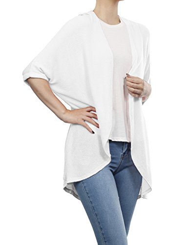 (BH B.I.L.Y USA Women's Dolman Sleeve Open Front Waffle Cardigan White Large)