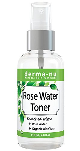 All Natural Rose Water Facial Toner by Derma-nu - Enriched with Organic Aloe Vera - Best Facial Mist for Sensitive Skin - Pore Minimizer & Skin Hydrator - Gentle Face Spray - 4oz