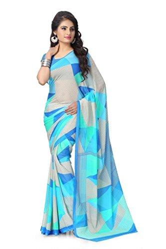 Jaanvi Fashion Women's Chiffon Saree (rolex-01_Blue_Free Size)