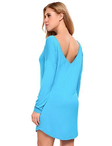 Acevog Casuale Allentata Blu Vestito Lunga Donne Tunica Maglietta Manica Delle Off Solida Spalla rwIS4qr