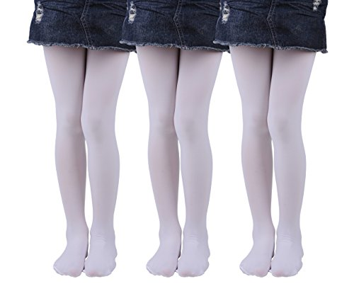 Girls Tights, Semi Opaque Footed Tights, Microfiber Comfortable Tights, Dance Tights (11-13, White(Pack of 3)) ()