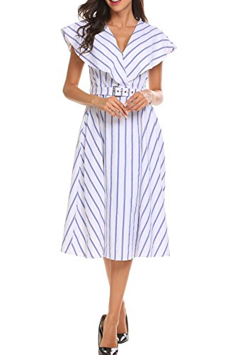Midi ACEVOG Striped White Line Dress Sleeveless Wide Women's Lapel Belted Pleated A HrwHqRzBx