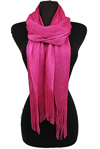 Sassy Scarves Womens Shiny Metallic Accents Dressy Shawl Oblong Fashion Scarf (Hot Pink)