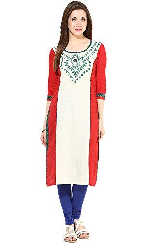 Indi-Dori-Womens-Cotton-Red-Front-Embroidered-Kurti