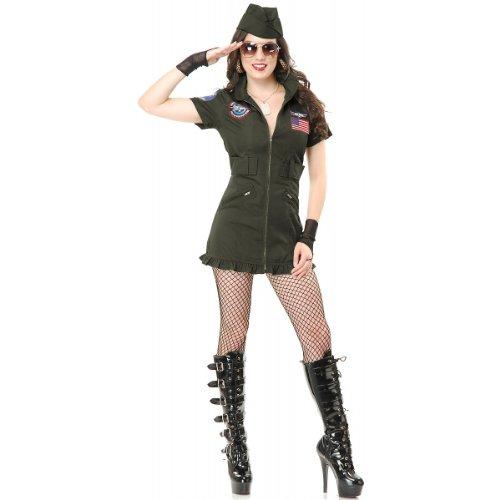 Charades Women's Tom Cat Seal Team Six Flight School Dress And Hat, Olive Green, (Top Gun Halloween Costume Women)