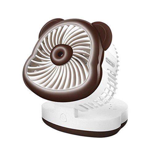 Chezaa Mini Fan, USB Desktop Spray Air Conditioning Refrigeration Humidification Fan for Home Office (brown) by Chezaa