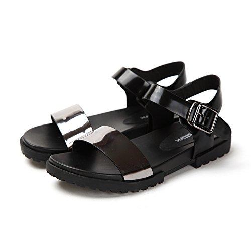 Sommerschuhe Leder Charakter/Schnalle niedrigen Absätzen zehenoffenen Frauen Sandalen-B Fußlänge=22.8CM(9Inch)