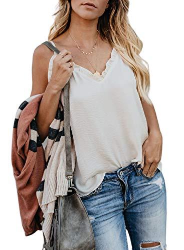 (Elapsy Womens Sexy Summer Ruffle V Neck Sleeveless Adjustable Spaghetti Strap Camis Tank Tops Blouse White Small)