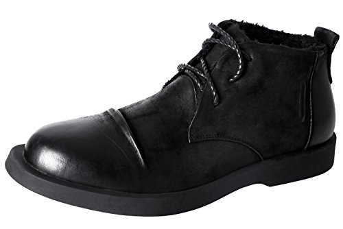 Santimon Mens Shoes Classic Modern Lace up Fur Lined Combat Dress Oxfords Chukka Ankle Snow Boots by Black 9 D(M) US by Santimon