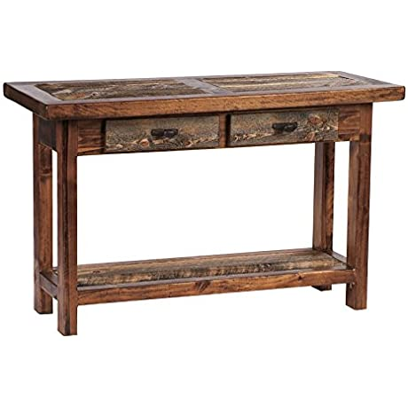 Mountain Woods Furniture The Wyoming Collection Two Drawer Sofa Table Bronze Pull 4