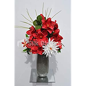 Silk Blooms Ltd Artificial Bright Red Amaryllis and Gloriosa Floral Arrangement w/Foliage and Needle Grass 75