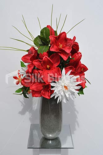 Silk-Blooms-Ltd-Artificial-Bright-Red-Amaryllis-and-Gloriosa-Floral-Arrangement-wFoliage-and-Needle-Grass