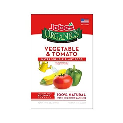 Jobe's Organics Vegetable & Tomato Fertilizer, 2-7-4 Water Soluble Plant Food Mix with Biozome, 10 oz Box Makes 30 Gallons of Organic Liquid Fertilizer
