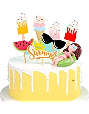 Summer Party Cake Decorations 15Pcs, 1pc Swim Rings Cute Figurine, 14Pcs Ice Cream Watermelon Sunglasses Summer Beach Theme Cupcake Toppers for Summer Hawaiian Tropical Party Baby Shower