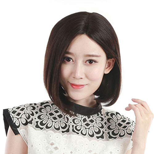 XJRHB Wig Fashion Dark Brown Female Long Straight Hair Wig 100% Real Hair (Brown Wig Siren)