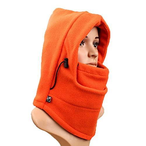 UZZO™Soft Comfortable Thermal Fleece Balaclava Hat Full Face Mask CS Hat Neck Warmer great for Ski Snowboard Winter Bicycle Bike Motorcycle and other outdoor sports in cold winter(Orange) +Free UZZO logo Key Ring (Nose Skull Logo)