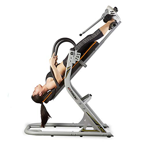 HARISON Inversion Table for Back Pain with 180 Full Inversion, Heavy Duty Back Inversion Chair with Memory Foam for 3D Backrest, Adjustable Four Angle, 4.8''-6.4'' for Height, Super sturdy