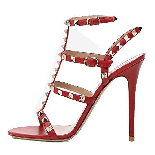 EKS Sandalias de vestir para mujer Rojo