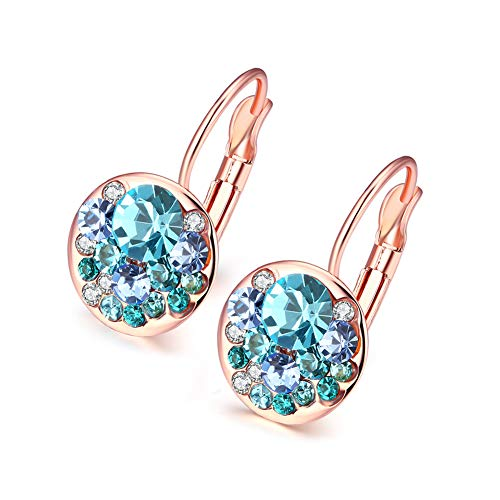 18K Rose Gold Plated Round Blue Crystal Pierced Earring for Women & Girl by Danillsson ()