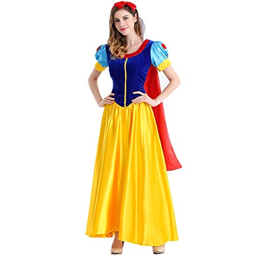 KUFV Women's Snow White Costumes Halloween Princess Costume Dress -