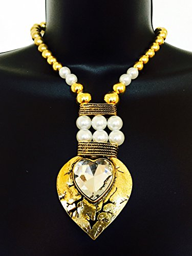 Heart Necklace Kathys - FUNKtional Wearables Fitbit Necklace for Fitbit Flex and Flex 2 Fitness Activity Trackers - The Kathy Gold and Pearl Rhinestone Heart Fitbit Necklace