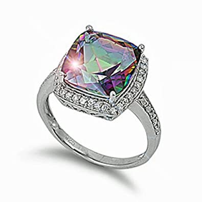 THE ICE EMPIRE 15mm Cushion Cut Round-Square Simulated Mystic Peacock Cz Sterling Silver Ring Size 5-10 5