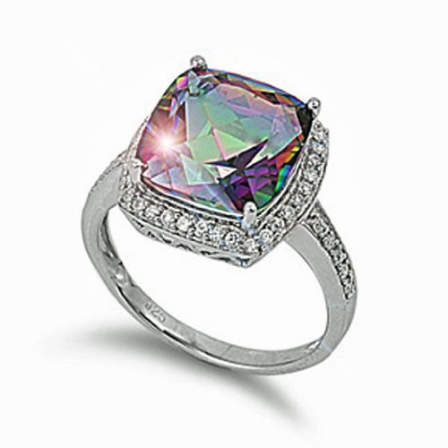 Simulated Alexandrite Ring (15mm Cushion Cut Round-square Simulated Mystic Peacock Cz Sterling Silver Ring Size (5-10) (7))