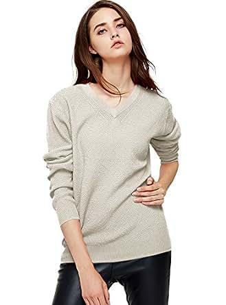 Escalier Women's Classic Long Sleeve V-Neck Pullover Sweater Beige L