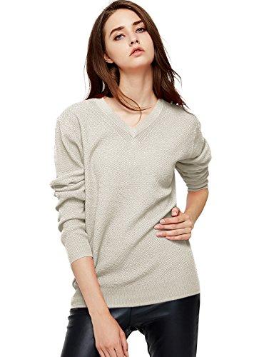 Escalier Women's Classic Long Sleeve V-Neck Pullover Sweater Beige S Classic Long Sleeve Pullover