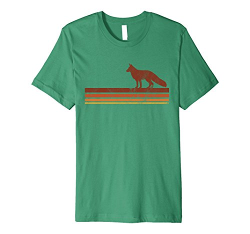70s Kelly Green (Mens Cute Vintage Fox T-shirt Retro Hipster 70s 80s Wanderlust Large Kelly Green)