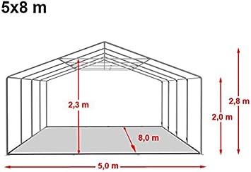 TOOLPORT Carpa de Fiesta 5x8 m Lona PVC Aprox. 500g/m² 100% Impermeable con Estructura de Suelo Blanco: Amazon.es: Jardín