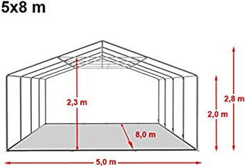 TOOLPORT Carpa de Fiesta 5x8 m Lona PVC 500/m² 100% Impermeable ...