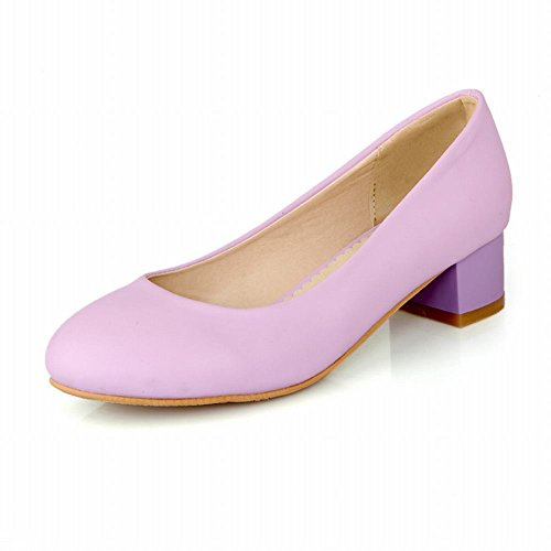 Show Shine Damesmode Medio Dikke Hak Loafers Schoenen Licht Paars