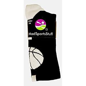 MadSportsStuff Basketball Socks with Basketball Logo Athletic Crew Socks – Made in The USA