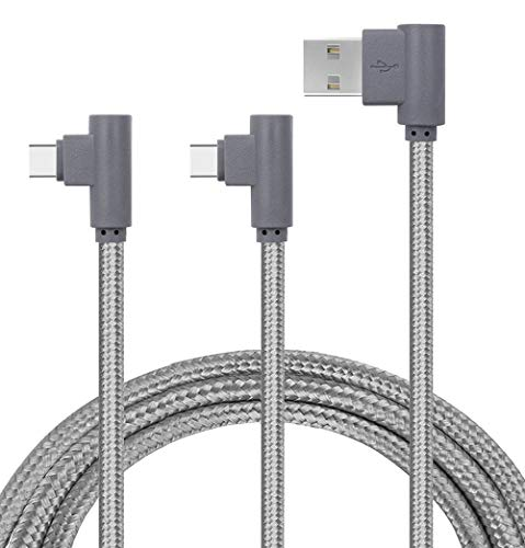 APFEN Angled USB Type C Cord, 2 Pack USB C Cord, USB Type C to Type A for Galaxy Note 8,S8,MacBook,LG V30 V20 G6 G5,Google Pixel/2/Pixel XL/2,Nexus 6P 5X,Oneplus 5T/5/3T Pack of 2 (Gray, 6ft)