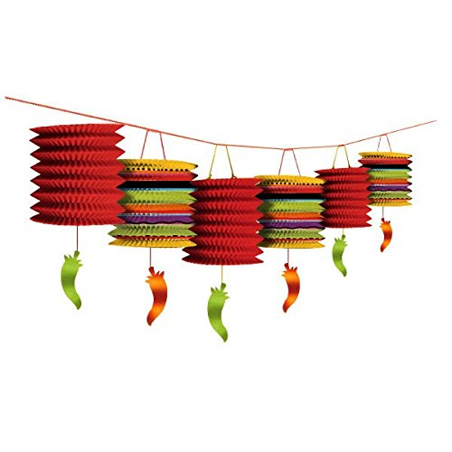 Cinco De Mayo Fiesta Party Sizzling Chilli Peppers and Laterns Garland Decoration, Paper, 12 Feet