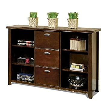 kathy ireland Home by Martin Tribeca Loft Cherry 3 Drawer File Bookcase – Fully Assembled