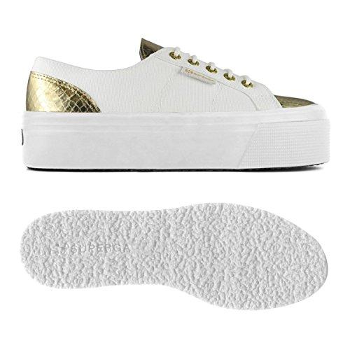 Superga 2790-cotleasnakew Blanco-Oro blanco y dorado