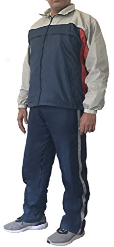 Sportier Classic Collection. 2 Pcs Jogging Track Suit with Pocket, Warm up Suit with Mesh Lining Added for Breathability. (XL) by Sportier Classic Collection.