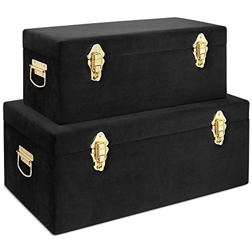 Beautify Black Velvet Decorative Storage Trunk Set with Brass Clasps - College Dorm and Bedroom Footlocker Trunks ()