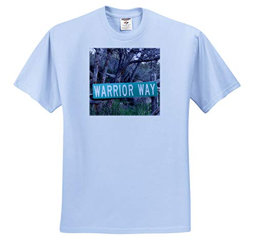 3dRose Jos Fauxtographee- Warrior Way - A Sign That says Warrior Way in Green Near a Forest - Youth Light-Blue-T-Shirt XS(2-4) (ts_319014_59)