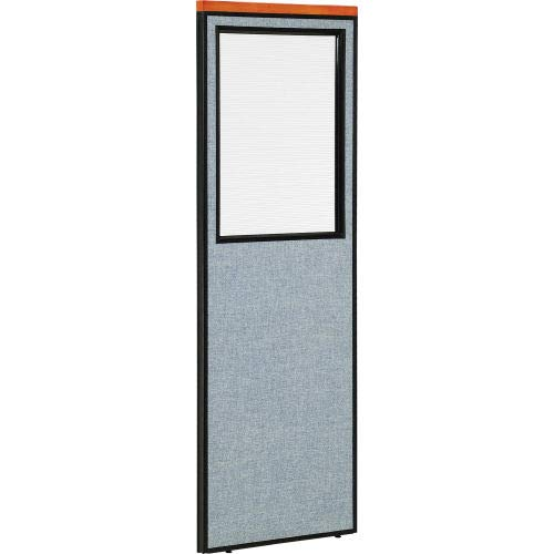 Deluxe Office Partition Panel with Partial Window, 24-1/4W x 73-1/2H, Blue