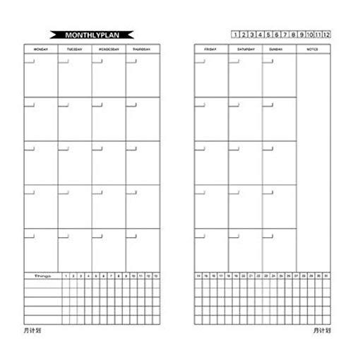 Vintage Kraft Paper, Notebook Blank Notepad Diary Filler Folios, Journal Traveler's Notebook Refill Planner Organizer (Month Planner,200x105mm)