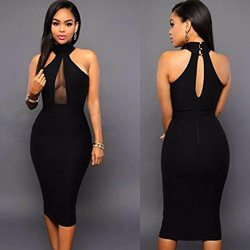 Vestidos De Fiesta Sexys Cortos Casuales Ropa De Moda 2018 Para Mujer De Noche Elegantes Negros VE0026 at Amazon Womens Clothing store: