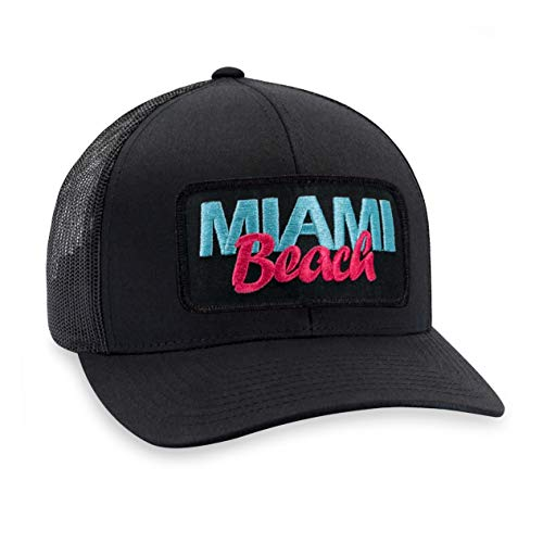 Miami Hat - South Beach Trucker Hat Baseball Cap Snapback Golf Hat (Black) (Charleston Orlando Sc Fl To)